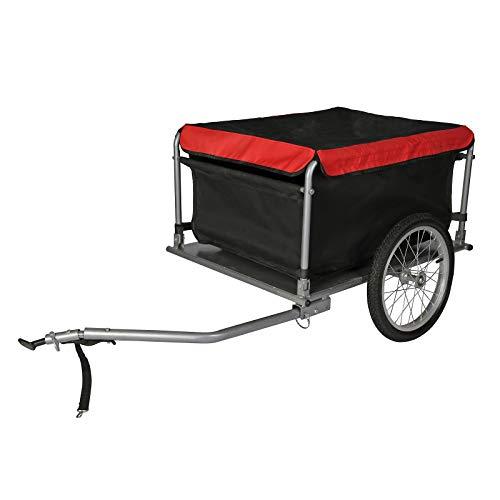 Wiltec Fahrrad Lastenanhänger bis 65 kg mit umklappbarer Deichsel & Schnellkupplung