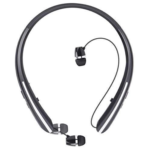 Joyphy Bluetooth Retractable Headphones Wireless Earbuds Neckband Headset Sports Sweatproof Earphones with Mic (15 Hour Play Time, Black)