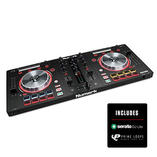 Numark Mixtrack Pro 3 | All In One 2 Deck DJ Controller for Serato DJ Including an On board Audio Interface, 5 inch High Resolution Jog Wheels and Serato DJ Intro & Prime Loops Remix Tool Kit