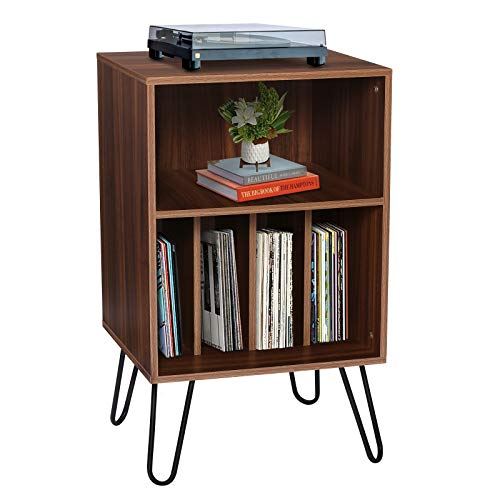 KINGSO Record Player Stand with Record Storage,Wood Record Storage Stand for Vinyl Storage Holds Up to 150 Albums,with Metal Hairpin Legs Turntable Stand for Home or Office,Brown