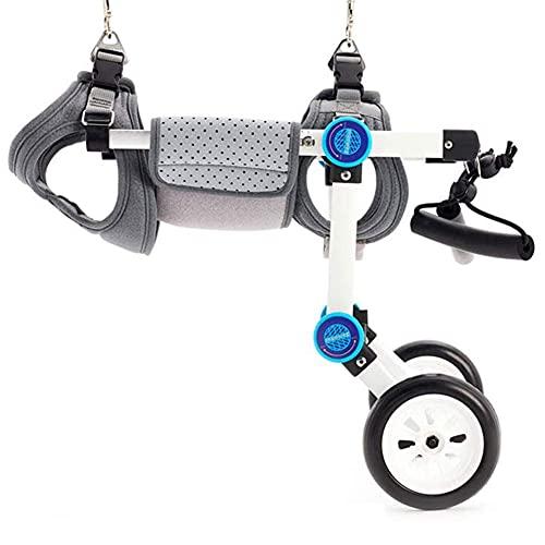 Sedia a rotelle per cani, Sedia a rotelle regolabile in lega di alluminio con doppie ruote, Auto ausiliaria per la riabilitazione delle zampe posteriori per le ferite del cane / gamba disabili
