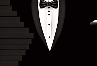 AOFOTO 7x5ft Father's Day Background Black Tuxedo Suit Bow Tie White Shirts Graphic Stairs Photography Backdrop Boyfriend Dad Birthday Party Celebration Stage Performance Backcloth Photo Studio Props