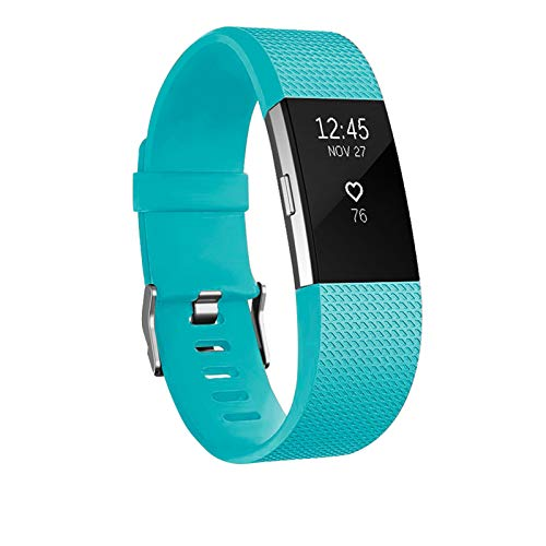 POY Replacement Bands Compatible for Fitbit Charge 2, Classic Edition Adjustable Sport Wristbands, Large Cyan