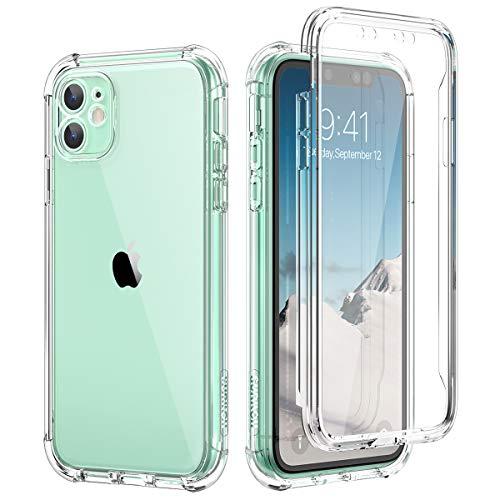 SURITCH Funda iPhone 11 360 Grados Transparente y Protector Antigolpes [Ultra Hybrid] Transparent PC Dura Resistente + TPU Silicona Bumper, Doble Cara Carcasa para iPhone 11 - Claro