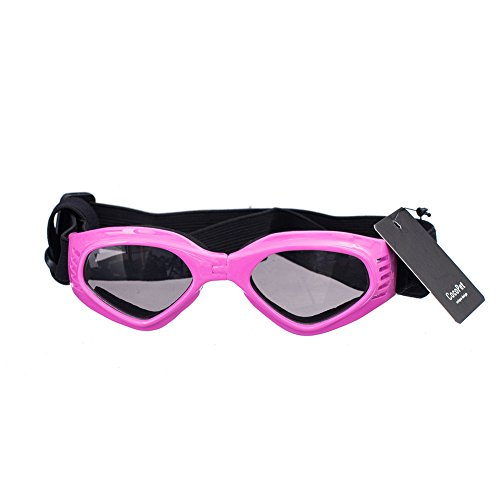 [New Version] CocoPet Adorable Dog Goggles Pet Sunglasses Eye Wear UV Protection Waterproof Sunglasses for Puppy Dogs Small Medium Pink