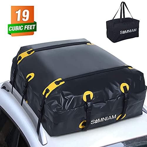 Simniam 19 Cubic Feet Car Roof Bag&Rooftop Cargo Carrier - 700D PVC Double Zippers Car Rooftop Bag...