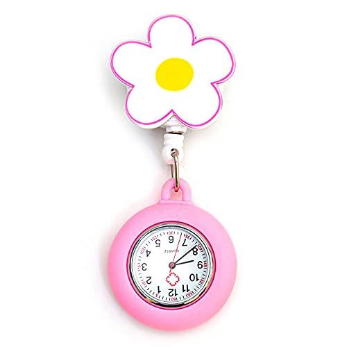 YYMY Cuarzo Reloj de Bolsillo Médico,Reloj de Bolsillo con luz Nocturna de Silicona para Enfermera, Mesa Colgante para Trabajadores de atención médica, Rosa 1