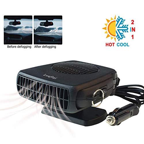 Chauffage de voiture antibuée 200 W 12 V avec prise allume-cigare portable 2 en 1 Pour chauffage/refroidissement de voiture Poignée ergonomique Dégivreur de pare-brise