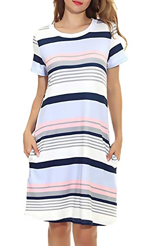 Klänningar damer sommar casual lös klänning t-shirt klänningar randiga kortärmad klassisk rund hals skjorta klänning damer med fickor kort t-shirt klänning damkläder