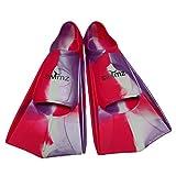 Swimz - Aletas de natación (Silicona, Hoja Corta), Color Rosa, Blanco y Morado, Pink/White/Purple, UK 4-5 (37/38)