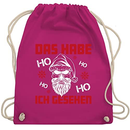 Weihnachten & Silvester - Das habe ich gesehen Ho Ho Ho - weiß - Unisize - Fuchsia - Das habe ich gesehen - WM110 - Turnbeutel und Stoffbeutel aus Baumwolle