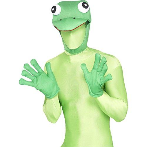 Amakando Ensemble Déguisement Kermit Grenouille avec Bonnet et Gants Costume Animal Soirée à Thème Carnaval