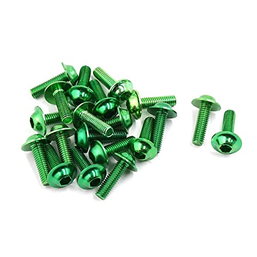 ZIHAN Feil Store 20 Piezas de aleación de Aluminio Verde Motocicleta Pernos Hexagonales Tornillos M6