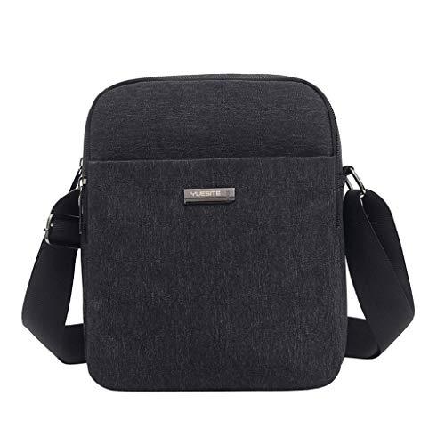 LEKODE Men Fashion Solid Color Crossbody Bag Oxford Shoulder Bag with Chain Strap(Black)