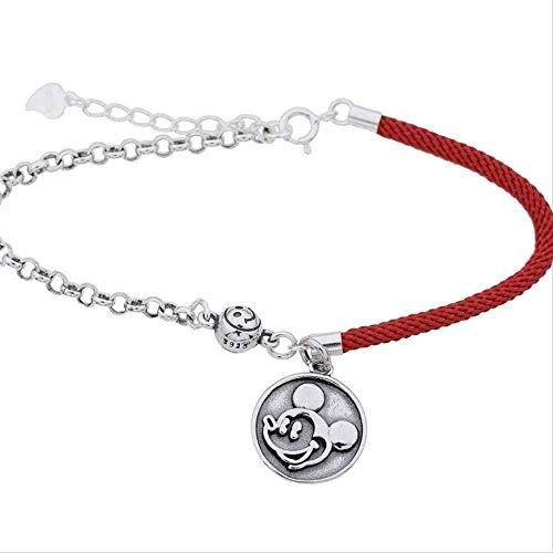 Yaoliangliang Collar de Modelado de ratón, Pulsera de Cuerda roja, fácil instalación, Retro, Forma de Marca Redonda, Pulsera con Estilo de Mickey Mouse, Regalo para Mujer