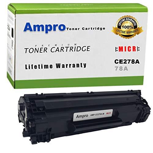 Ampro's CE278A MICR Toner or 78A MICR Toner Compatible Cartridge Replacement for HP CE278A MICR or HP 78A MICR for Use in HP Laserjet M1536 MFP M1536DNF P1560 P1566 P1606 P1606DN Canon CRG-128 MICR.