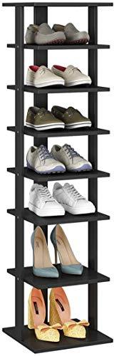 HOME BI 7-Tier Wood Shoe Rack, Double Rows 7-Tier Shoe Shelf,Shoe Storage Stand, Entryway Shoe Tower, Vertical Shoe Organizer Perfect for Narrow Closet, Entryway, Hallway, Bedroom (Small, Black)