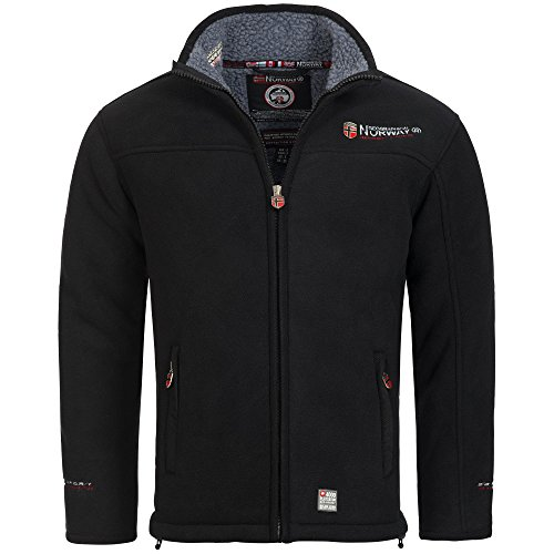 Geographical Norway, giacca in pile, da uomo, con calda fodera in pelliccia, taglia: da S a XXXL Nero  XL