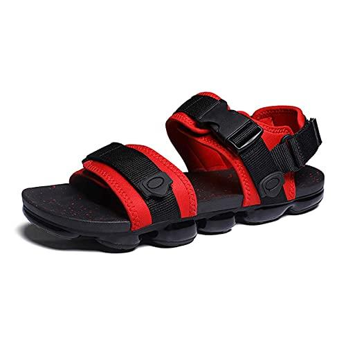 Sandalias de jardín antideslizantes para hombre con punta abierta y cómoda para exteriores, negro, rojo, 40 2/3 EU