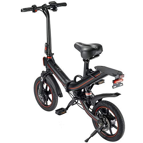 V5 Bicicletas eléctricas para Adultos, Bicicletas eléctricas Plegables para Mujeres Hombres con batería 10 / 15Ah 48v 14 Pulgadas Velocidad máxima 25 km/h Adecuado para Ciudad (Negro-15AH)