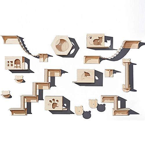 TXOZ-Q Cat Hammock und Kletter Activity Center Wand- Kratzbaum Regale, Katze Wand Möbel Holz Wandregale, Multi-Stil (Size : D)