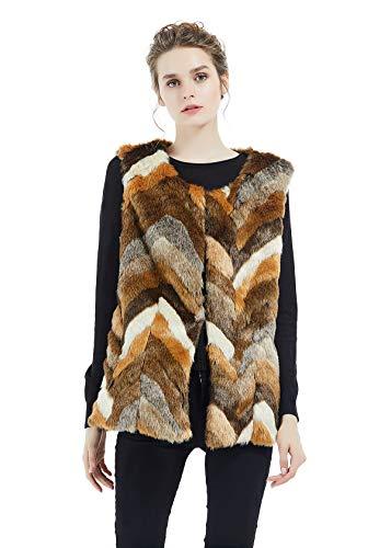 SUFCOMOU Women's Faux Fur Vest Multicolor Waistcoat Sleeveless Jacket Plus Size Autumn and Winter Warm