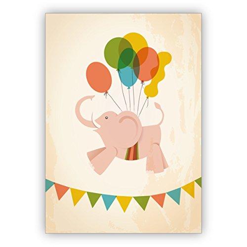 Schattige baby wenskaart of uitnodigingskaart met vliegende olifant aan kleurrijke ballonnen • betoverende baby party kaart, uitnodigingskaart om familie en vrienden uit te nodigen, individuele babykaart om met de familie te vieren 10 Grußkarten