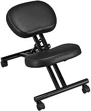 YAHEETECH Ergonomic Office Kneeling Chair Adjustable Posture Corrective Chair Modern Design Flexible Seating Rolling Stool Black