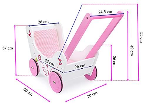 LEOMARK Lauflernwagen Aus Holz Puppenwagen inkl. Bettwäsche Schmetterling Puppen Wagen Lauflern Wagen Lauflernhilfe Garnitur Pink - 4