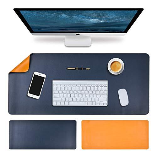 Grand tapis de souris 100 x 43 cm en cuir synthétique imperméable pour bureau et maison - Grand format 100 x 43 cm - Bicolore bleu jaune