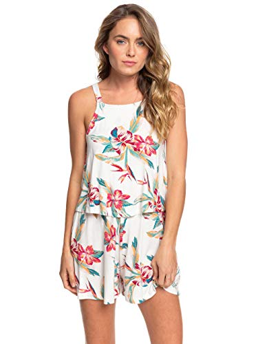 Roxy Damen Knit Dress Favorite Song - Träger-Playsuit für Frauen, Snow White Tropic Call, L, ERJKD03324