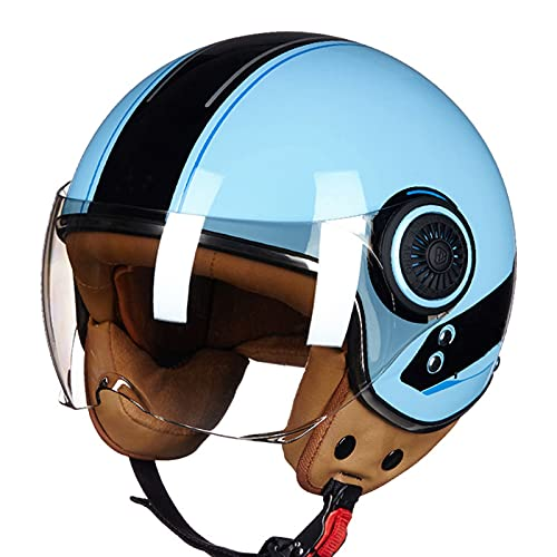 Motorrad Halbhelme Retro Jet-Helm Halbschale Brain-Cap Roller-HelmECE-Zulassung Mit Visier Für Mofa Cruiser Chopper Scooter-Helm Elektrofahrrad Männer Damen 2,M