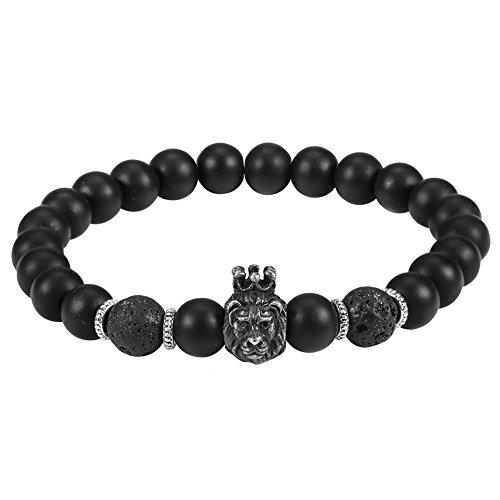 Braccialetto di perle, perline nere per uomo, bracciale in lega con testa di leone per uomo, regalo per uomo, regalo di san valentino