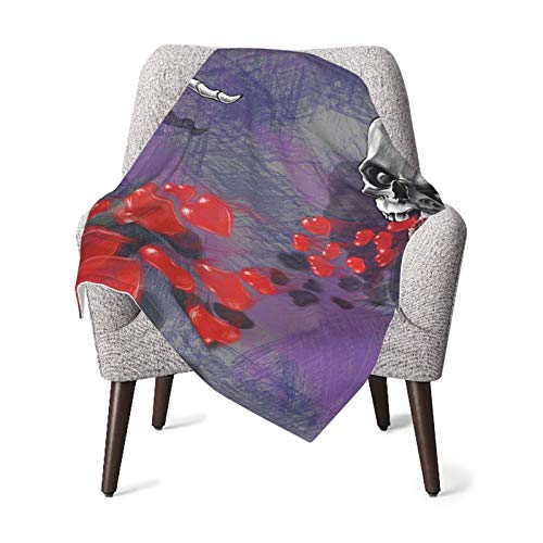 Skull Decor Skeleton In Love Throw Out Puke Of Hearts Deadly Romantic Gesture Art Grey Red And Purple Baby Blanket, Baby Quilt, Baby Comfort Blanket, Baby Double Blanket