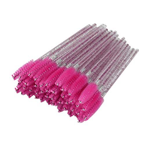 perfeclan 50x Pinceles de Pestañas Cepillo de Cejas Aplicador de Rímel Desechable - Rosa roja