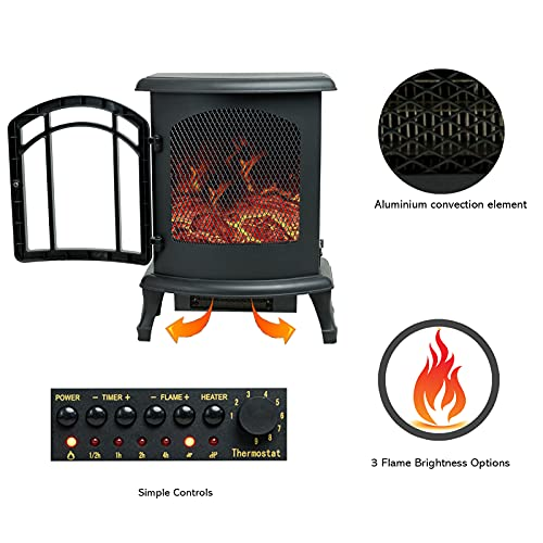 Product Image 3: Helios&Hestia 24″ Tall Electric Wood Stove Fireplace with Flame Effect, Freestanding Portable Indoor Space Heater with Remote
