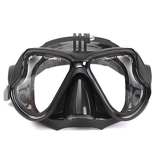ZHUYUE Comfortabel Duikmasker Camera Mount Duikmasker Oceanische Scuba Snorkel Zwembril Bril Met Camera Mount Professionele duikmasker (Kleur : Zwart, Maat : Een maat)