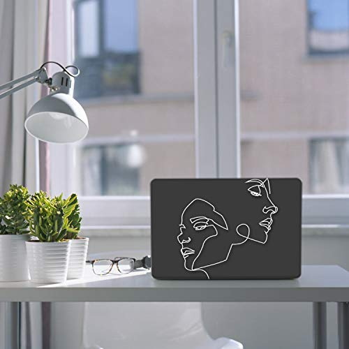 iCasso MacBook Air 13 Zoll Hülle 2020 2019 2018 Release A2337/A2179/A1932 mit Retina-Display Touch ID, Durable Hard Plastic Shell Case and Keyboard Cover Compatible New MacBook Air 13 - Face Sketch