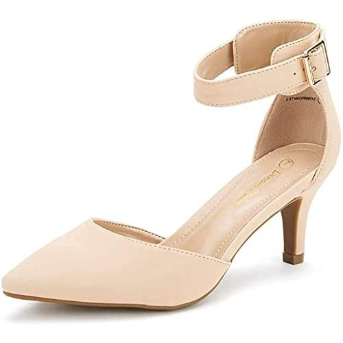 DREAM PAIRS Women's Low Heel Ankle Strap Dress Court Shoes