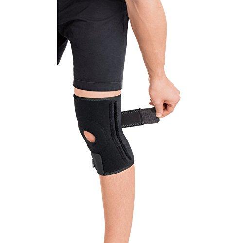 Neopren Kniebandage mit Stabilisatoren – Kniestütze – Knieorthese Knieschutz mit Klettverschluss verstellbare mit 4 Rippenversteifungen Schwarz Large