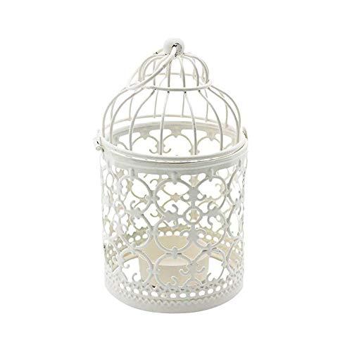 Shiwaki Linterna Colgante de Jaula para pájaros de Metal Blanco, centros de Mesa Decorativos Vintage de Bodas y Fiestas, candelabro de Festival, decoración del hogar