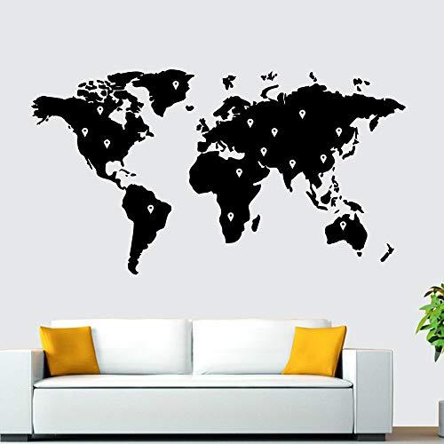 Ofomox Mapa del Mundo decoración Familiar habitación Moderna Muebles para Habitaciones de niños jardín de Infantes Sala de Estar Dormitorio decoración Pegatinas de Pared wallpaper48X87CM