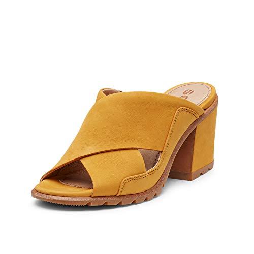 Sorel - Women's Nadia Mule, Leather or Nubuck Open-Toe Mule with Block Heel, Golden Yellow, 10.5 M US