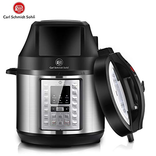 1829CSS Pressure Cooker and Air Fryer Combos 6.5Qt, 21-in-1 Multi-Cooker Rice Cooker with Detachable Pressure & Crisping Lid, 21 One-Touch Presets, 3Qt Air Fry Basket, Free Recipe Book, 1500W