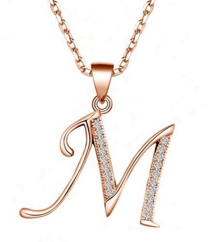 TIKIVILLE, collana in argento Sterling 925 con ciondolo con iniziale, placcatura in oro rosa, argento, colore: M, cod. DZ00484CAB00M-B