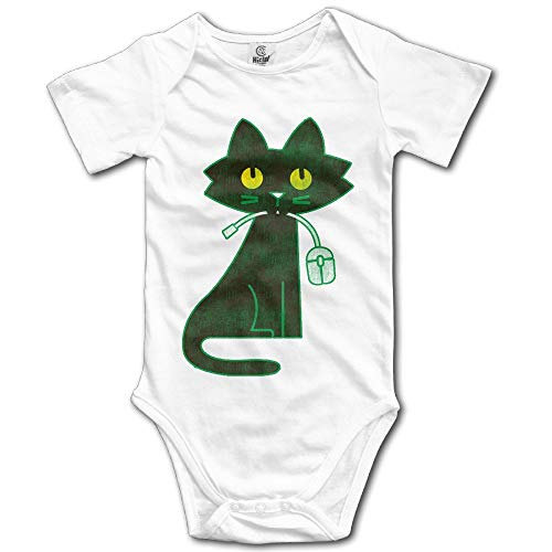 SDGSS Combinaison Bébé Bodysuits Hungry Cat Eat Computer Mouse Newborn Short Sleeve Baby Onesie