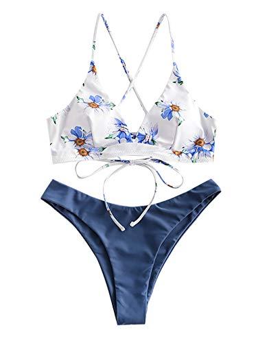 ZAFUL Damen Floral Druck Spaghetti-Träger Lace-up Gepolstert Bikini Set (Blau, M)