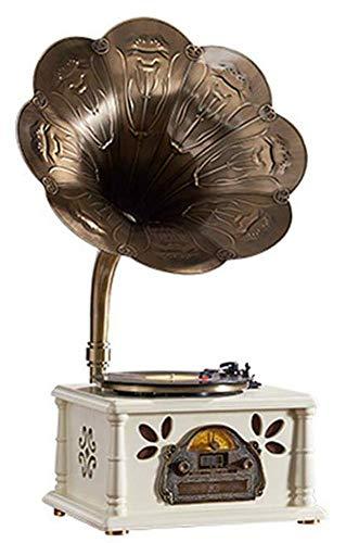 Grammofono con Altoparlanti Stereo • Radio • Lettore CD • Record di Riproduzione Mp3 E USB Stereo - Legno Chiaro, 3 velocità (33/45/78)