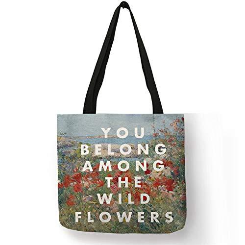 LINADEBAO Eco Herbruikbare Shopping Bag Engels Spreuk Op Beroemde Schilderij Print Vrouwen Dame Handtassen Grote Taten