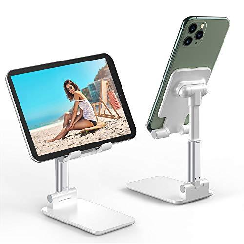 Babacom Soporte Tablet, Soporte Plegable de ángulo de Escritorio, Soporte teléfono Ajustable con Superficie Antideslizante y de Aleación para iPhone Huawei,Samsung,Xiaomi,iPad etc